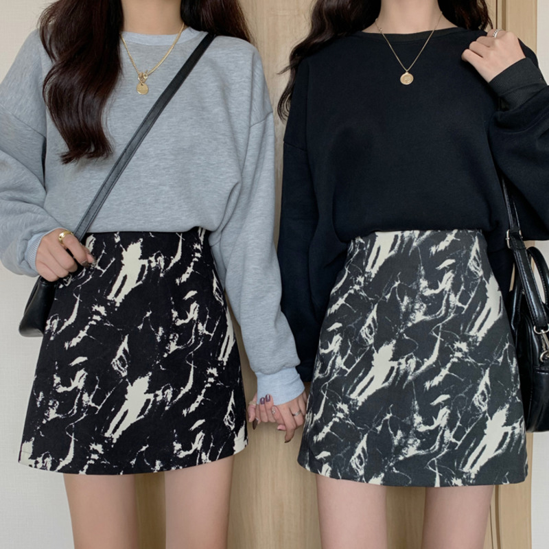 高腰包臀裙a字裙女韓版時尚復古chic風韓版減齡百搭設計感水墨暈染合身顯瘦短裙半身裙