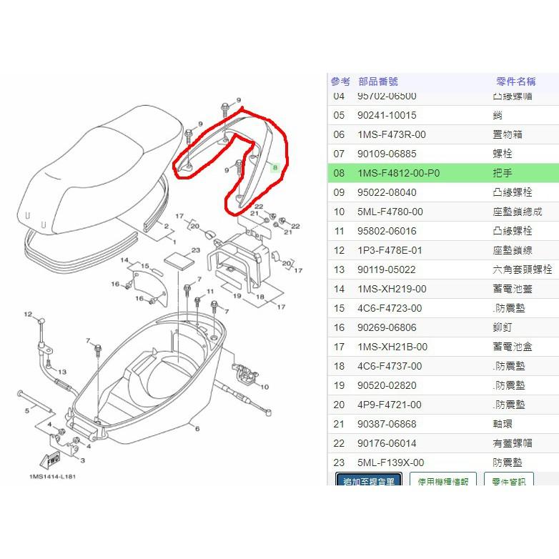 俗俗賣YAMAHA山葉原廠 把手 三代 新勁戰 125 後扶手 白色 料號:1MS-F4812-00-P0