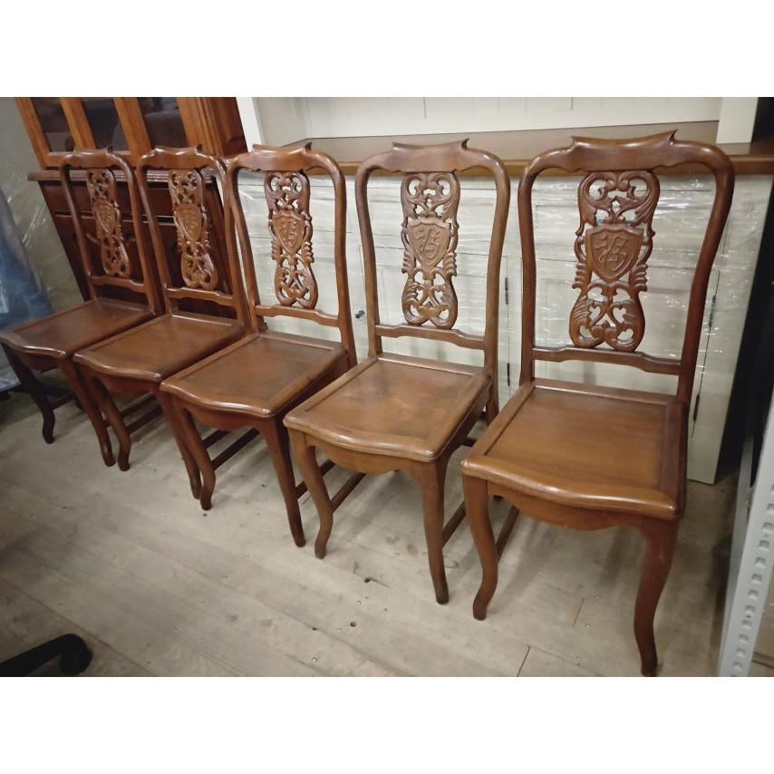 【土城二手市集】單張出售~早期餐椅 書桌椅 閱讀椅 化妝椅 骨董椅 古董椅 實木 原木 木椅