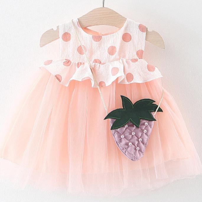 嬰幼兒爆款可愛草莓洋裝 短袖洋裝 女童洋裝 寶寶洋裝 連身裙 連衣裙 小童洋裝【蘋果小舖】(RE)2004 A7