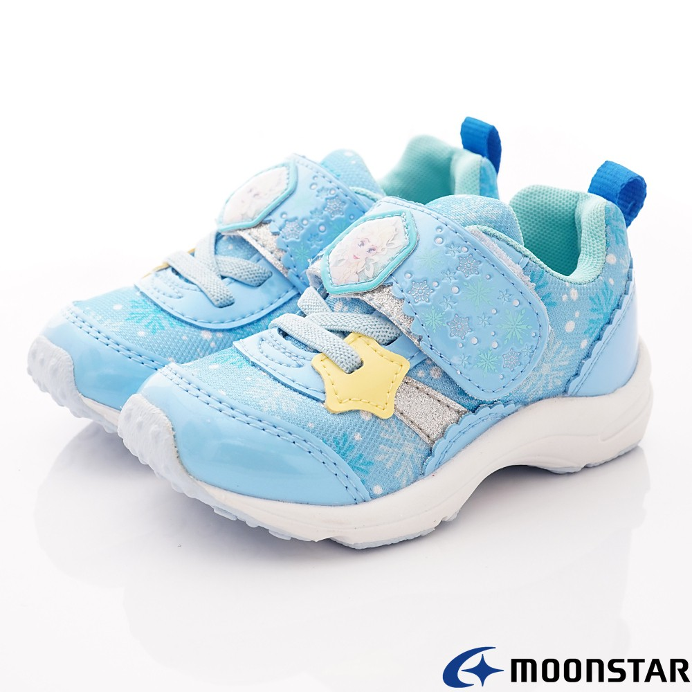 日本月星Moonstar機能童鞋迪士尼聯名系列寬楦冰雪奇緣運動鞋款12415藍(寶寶段)14cm-零碼出清