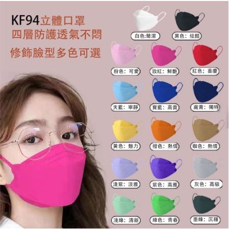 KF94純色成人口罩 立體口罩 魚形魚型口罩 多色可選 韓國KF94 純色 素色 彩色  圖案 造型 印花 kf94口罩