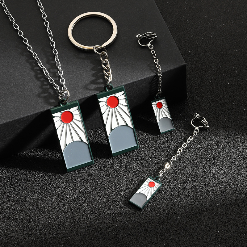 【RX】爆款鬼滅之刃耳環項鍊飾品 學生項鍊創意時尚鑰匙扣 少女耳環吊墜